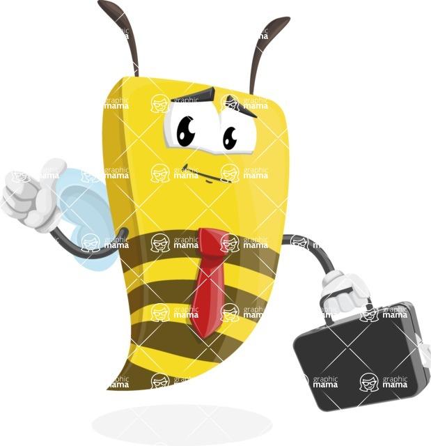 Bee Businessman Cartoon Vector Character AKA Lee the Business Bee - Brifcase 1