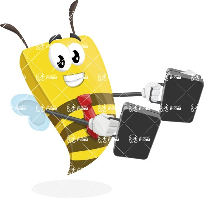 Bee Businessman Cartoon Vector Character AKA Lee the Business Bee - Brifcase 3