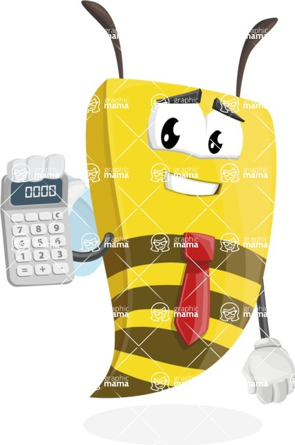 Bee Businessman Cartoon Vector Character AKA Lee the Business Bee - Calculator