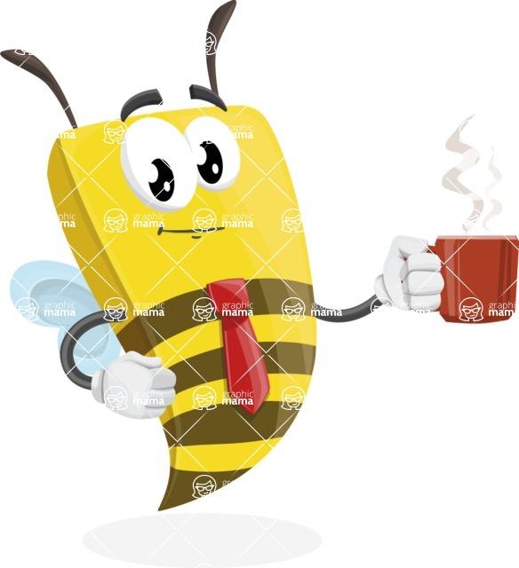 Bee Businessman Cartoon Vector Character AKA Lee the Business Bee - Coffee