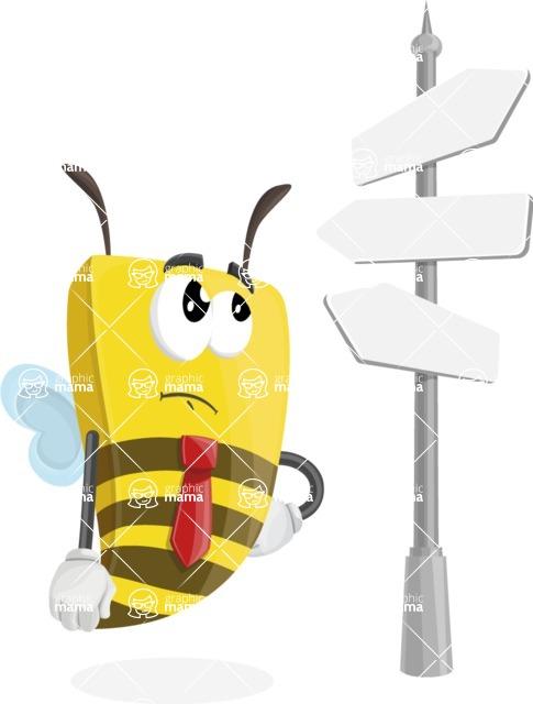 Bee Businessman Cartoon Vector Character AKA Lee the Business Bee - Crossroad