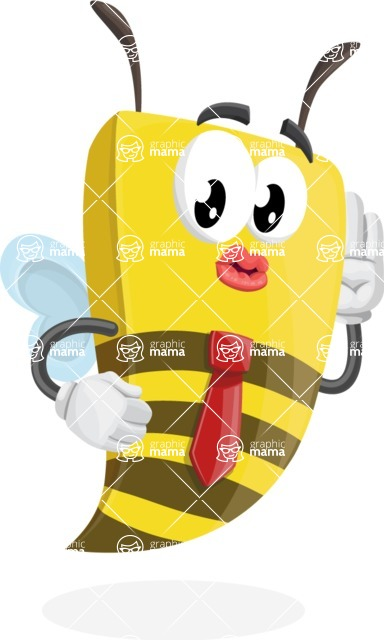 Bee Businessman Cartoon Vector Character AKA Lee the Business Bee - Duckface