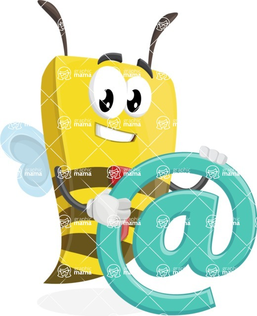 Bee Businessman Cartoon Vector Character AKA Lee the Business Bee - Email