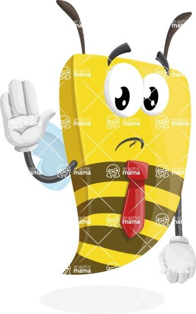 Bee Businessman Cartoon Vector Character AKA Lee the Business Bee - Goodbye