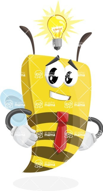 Bee Businessman Cartoon Vector Character AKA Lee the Business Bee - Idea