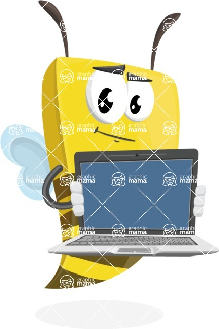 Bee Businessman Cartoon Vector Character AKA Lee the Business Bee - Laptop 2