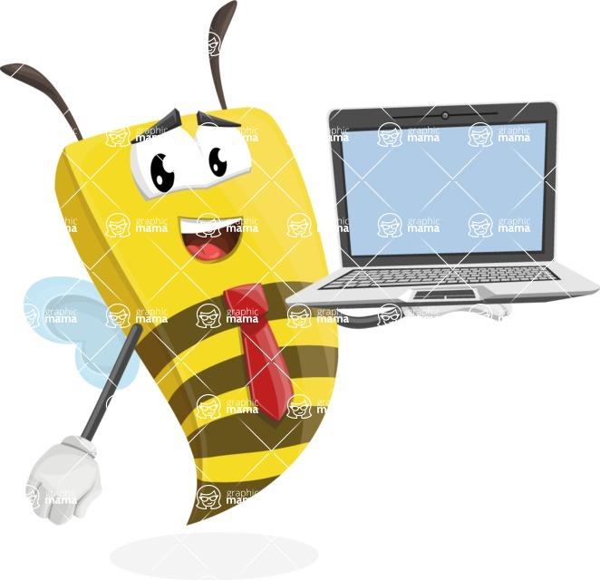 Bee Businessman Cartoon Vector Character AKA Lee the Business Bee - Laptop 3