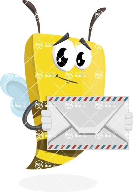 Bee Businessman Cartoon Vector Character AKA Lee the Business Bee - Letter