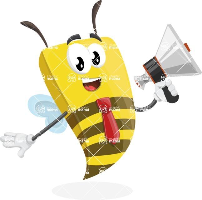 Bee Businessman Cartoon Vector Character AKA Lee the Business Bee - Loudspeaker