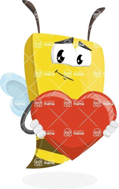 Bee Businessman Cartoon Vector Character AKA Lee the Business Bee - Love