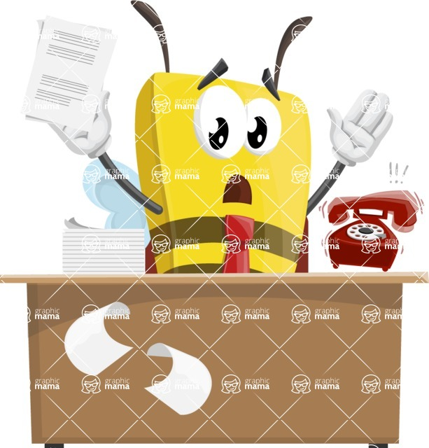 Bee Businessman Cartoon Vector Character AKA Lee the Business Bee - Office Fever