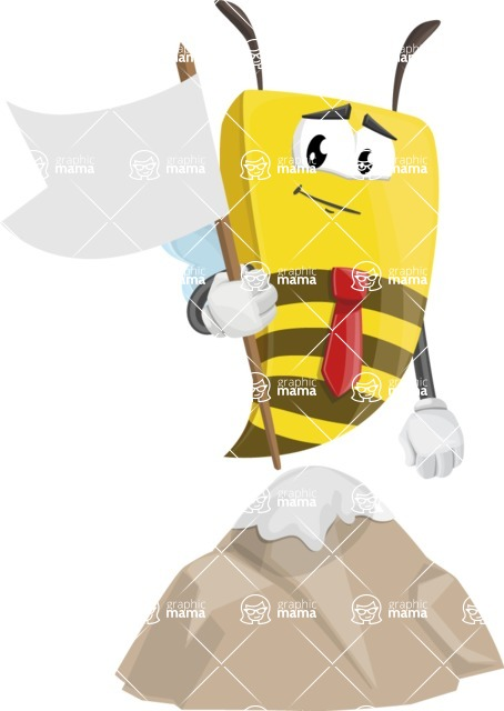 Bee Businessman Cartoon Vector Character AKA Lee the Business Bee - On Top