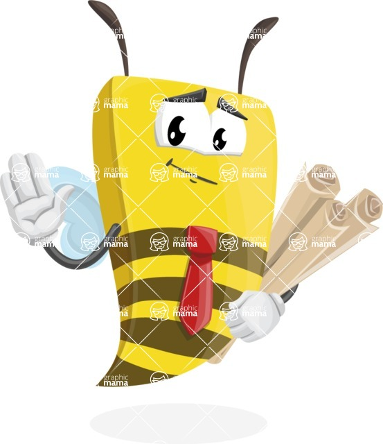 Bee Businessman Cartoon Vector Character AKA Lee the Business Bee - Plans