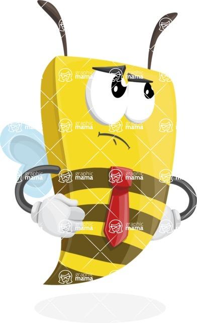 Bee Businessman Cartoon Vector Character AKA Lee the Business Bee - Roll Eyes