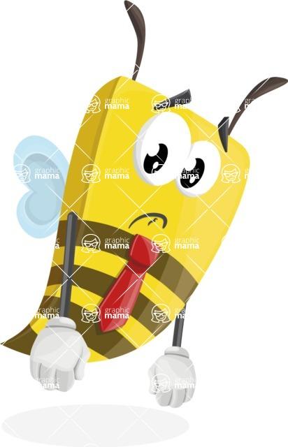 Bee Businessman Cartoon Vector Character AKA Lee the Business Bee - Sad
