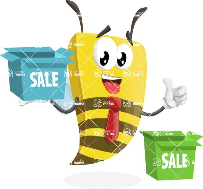 Bee Businessman Cartoon Vector Character AKA Lee the Business Bee - Sale