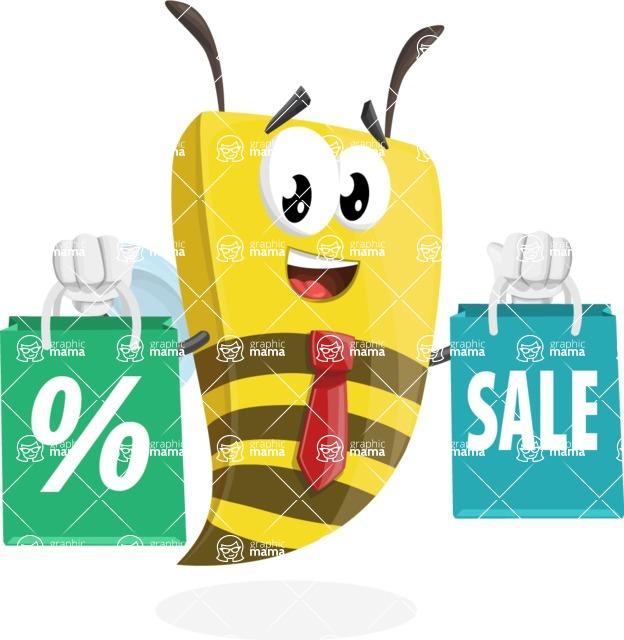 Bee Businessman Cartoon Vector Character AKA Lee the Business Bee - Sale2