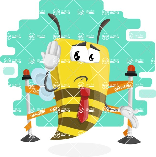 Bee Businessman Cartoon Vector Character AKA Lee the Business Bee - Shape 10
