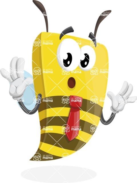 Bee Businessman Cartoon Vector Character AKA Lee the Business Bee - Shocked