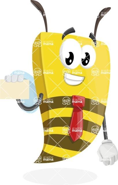 Bee Businessman Cartoon Vector Character AKA Lee the Business Bee - Sign 1