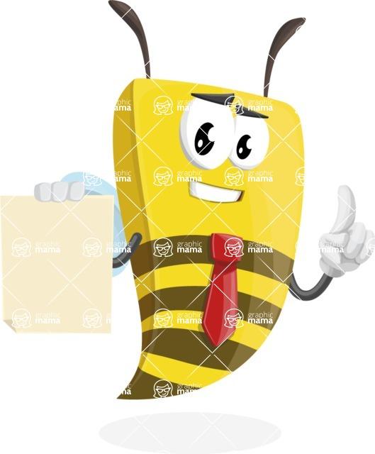 Bee Businessman Cartoon Vector Character AKA Lee the Business Bee - Sign 2