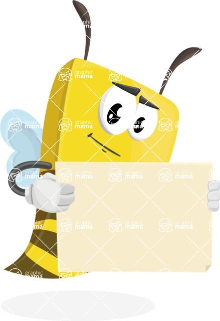Bee Businessman Cartoon Vector Character AKA Lee the Business Bee - Sign 4