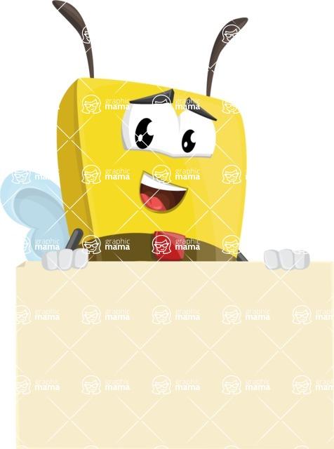Bee Businessman Cartoon Vector Character AKA Lee the Business Bee - Sign 6
