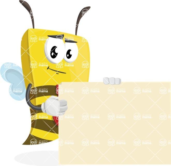 Bee Businessman Cartoon Vector Character AKA Lee the Business Bee - Sign 8