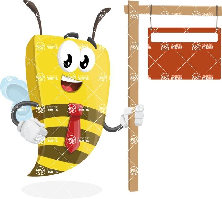 Bee Businessman Cartoon Vector Character AKA Lee the Business Bee - Sign 9