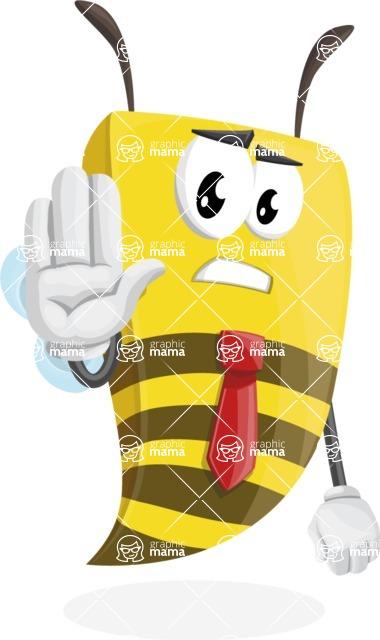 Bee Businessman Cartoon Vector Character AKA Lee the Business Bee - Stop