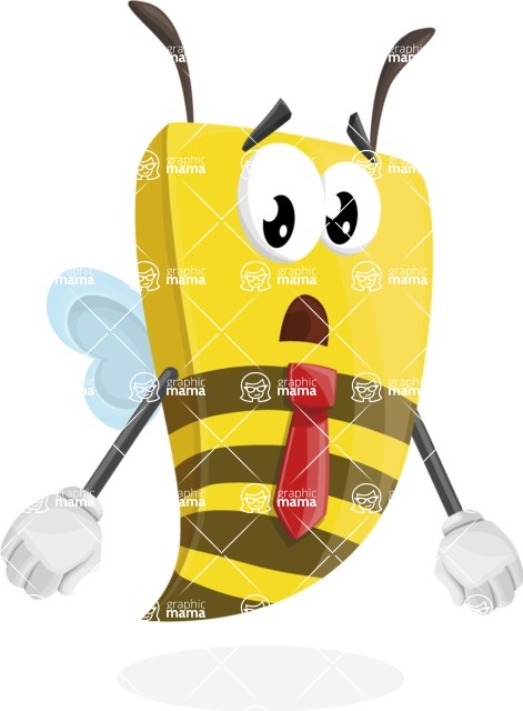 Bee Businessman Cartoon Vector Character AKA Lee the Business Bee - Stunned