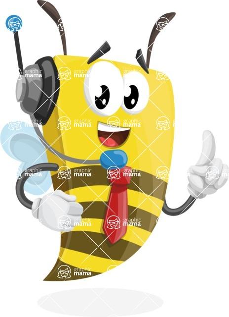 Bee Businessman Cartoon Vector Character AKA Lee the Business Bee - Support 2