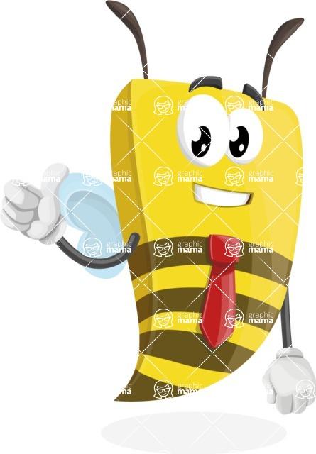 Bee Businessman Cartoon Vector Character AKA Lee the Business Bee - Thumbs Up