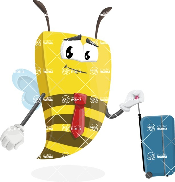 Bee Businessman Cartoon Vector Character AKA Lee the Business Bee - Travel 1