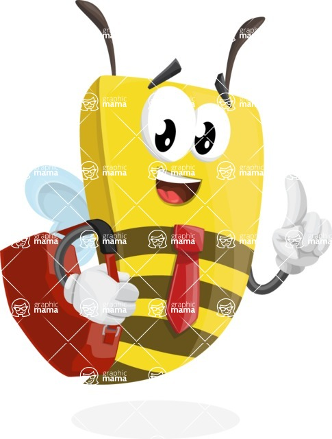 Bee Businessman Cartoon Vector Character AKA Lee the Business Bee - Travel 2