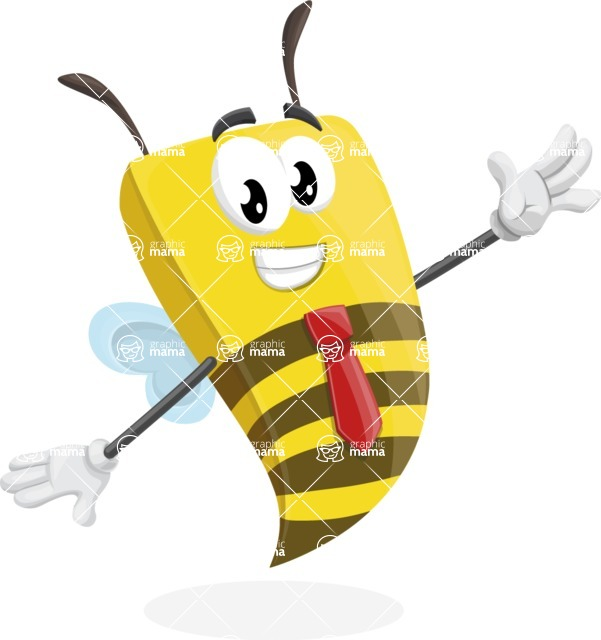 Bee Businessman Cartoon Vector Character AKA Lee the Business Bee - Wave