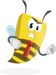Bee Businessman Cartoon Vector Character AKA Lee the Business Bee - Angry
