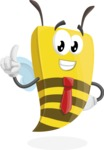 Bee Businessman Cartoon Vector Character AKA Lee the Business Bee - Attention