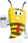 Bee Businessman Cartoon Vector Character AKA Lee the Business Bee - Calculator