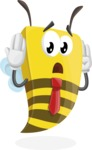 Bee Businessman Cartoon Vector Character AKA Lee the Business Bee - Confused