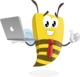 Bee Businessman Cartoon Vector Character AKA Lee the Business Bee - Laptop 1