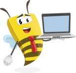 Bee Businessman Cartoon Vector Character AKA Lee the Business Bee - Laptop 3