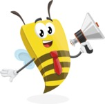 Bee Businessman Cartoon Vector Character AKA Lee the Business Bee - Loudspeaker
