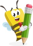 Bee Businessman Cartoon Vector Character AKA Lee the Business Bee - Pencil