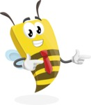 Bee Businessman Cartoon Vector Character AKA Lee the Business Bee - Point