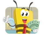 Bee Businessman Cartoon Vector Character AKA Lee the Business Bee - Shape 2