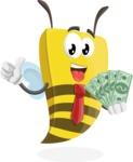 Bee Businessman Cartoon Vector Character AKA Lee the Business Bee - Show me the Money