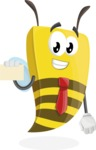 Bee Businessman Cartoon Vector Character AKA Lee the Business Bee - Sign 1