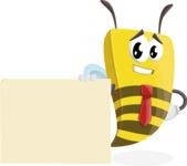 Bee Businessman Cartoon Vector Character AKA Lee the Business Bee - Sign 7