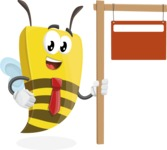 Bee Businessman Cartoon Vector Character AKA Lee the Business Bee - Sign 9